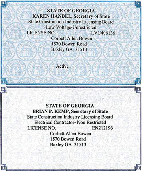 Certifications for CAB Enterprises